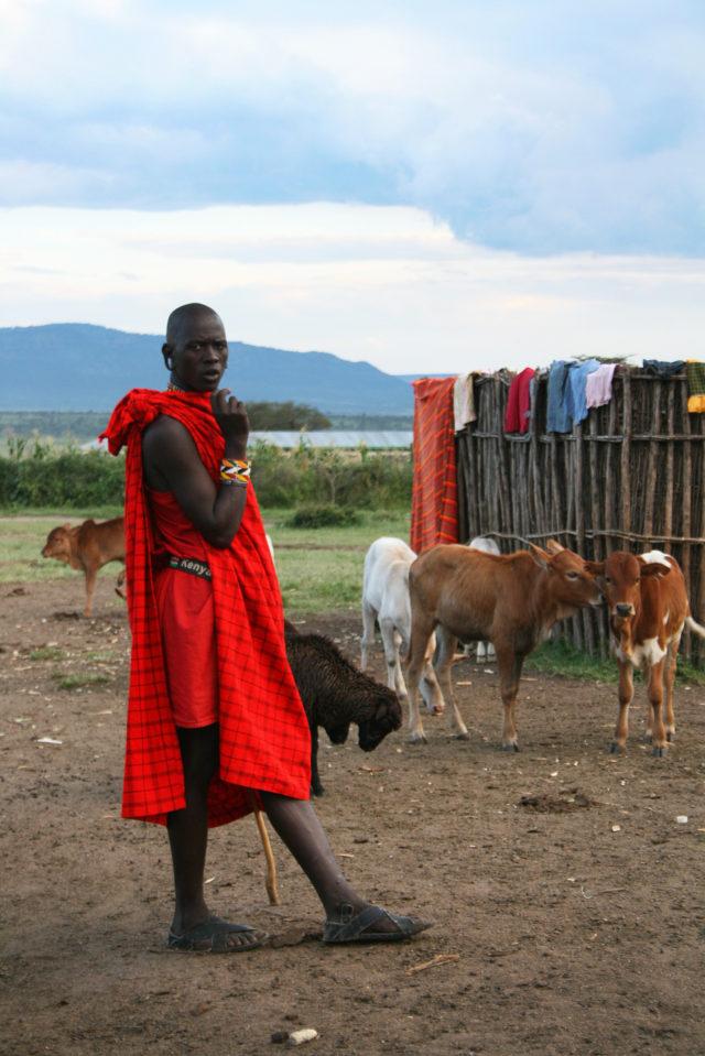 「ケニアを代表する少数民族「マサイ族」の青年」のフリー写真素材を無料ダウンロード