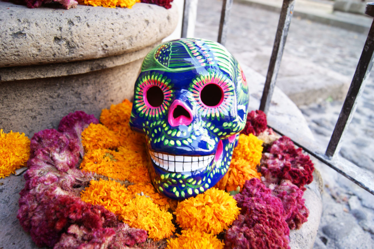 """Mexican Halloween decoration """"Marigold and colorful skulls"""""""