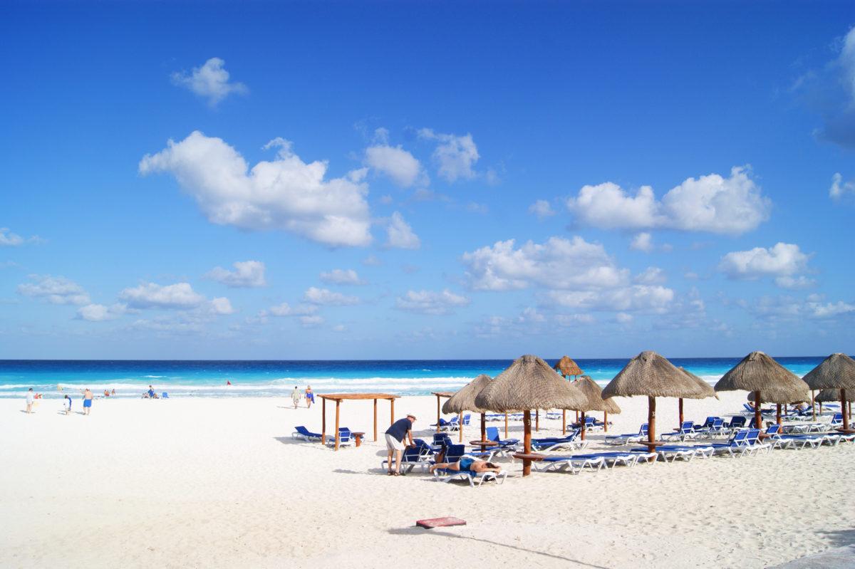 Cancun beach resort with beautiful blue sea and sky