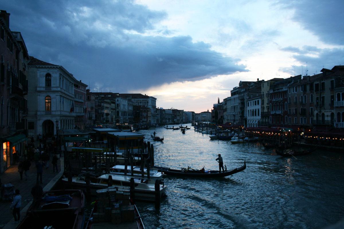 Venice gondola and sunset
