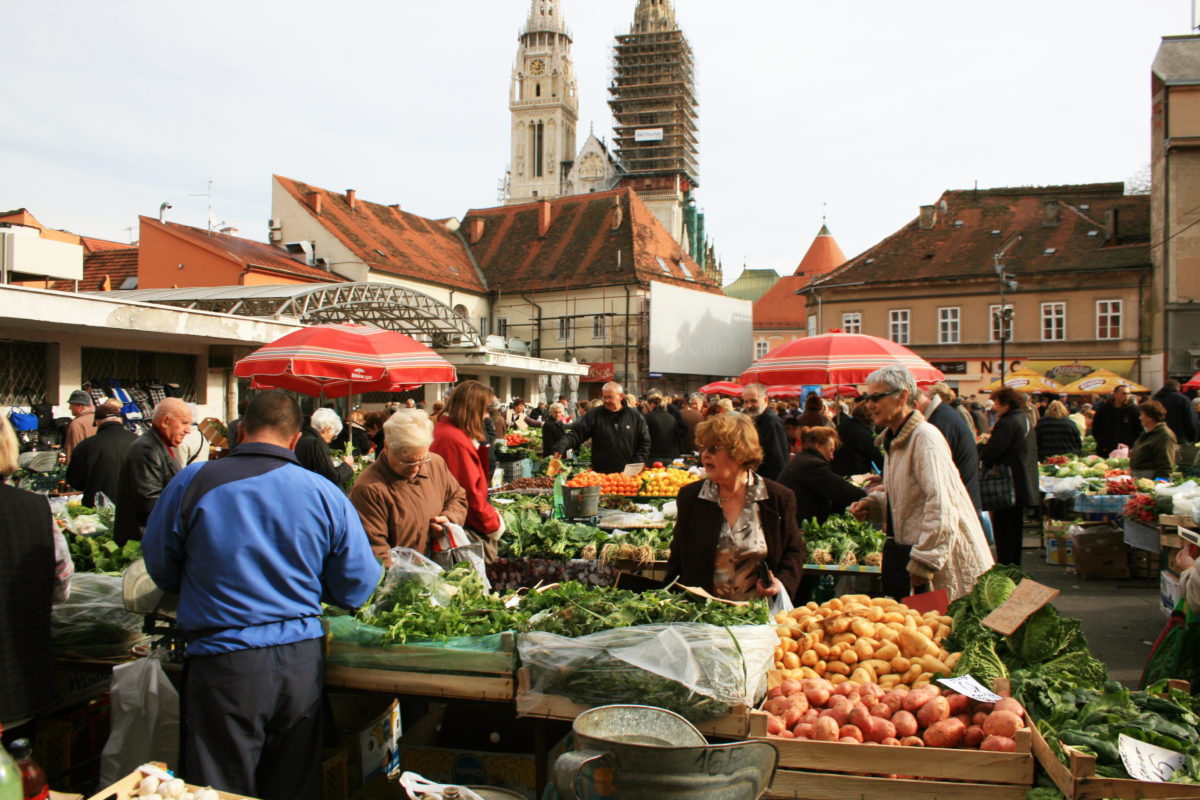 Fruit and vegetable market near the Cathedral of Zagreb (Draz Market)