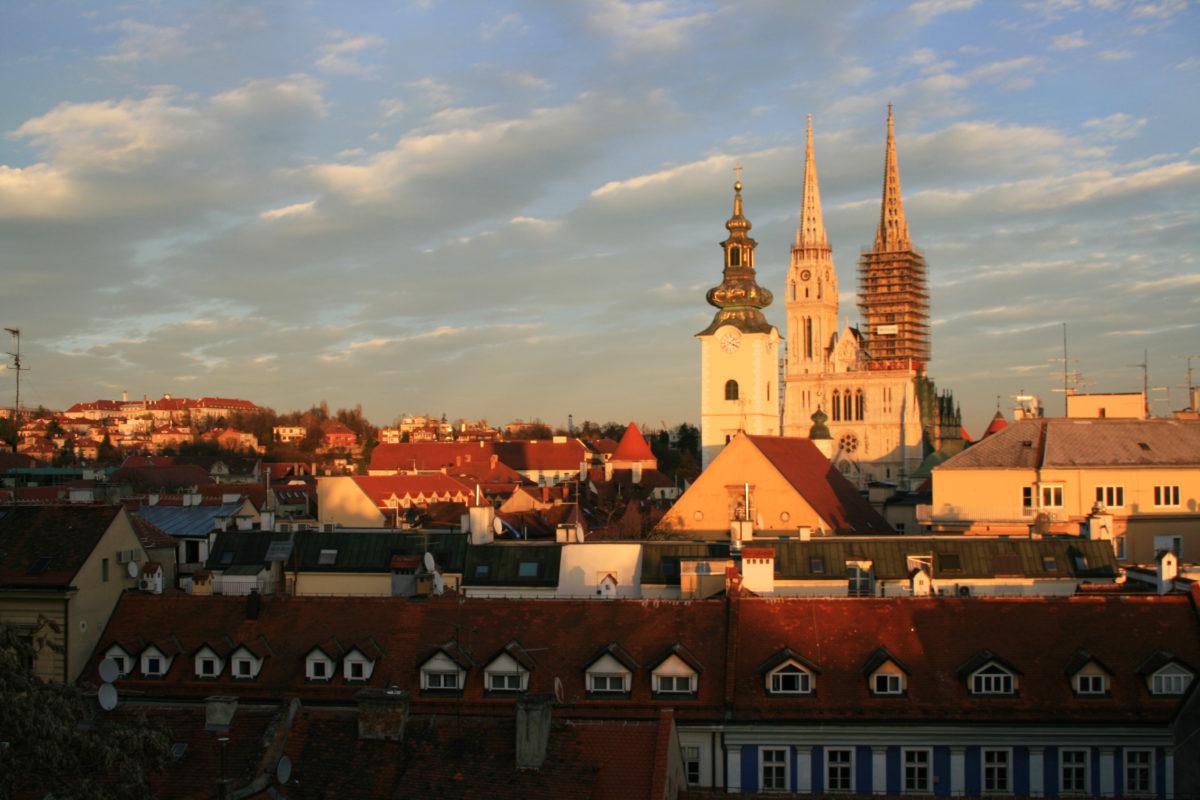 "Zagreb landmark ""Zagreb Cathedral"" and cityscape"