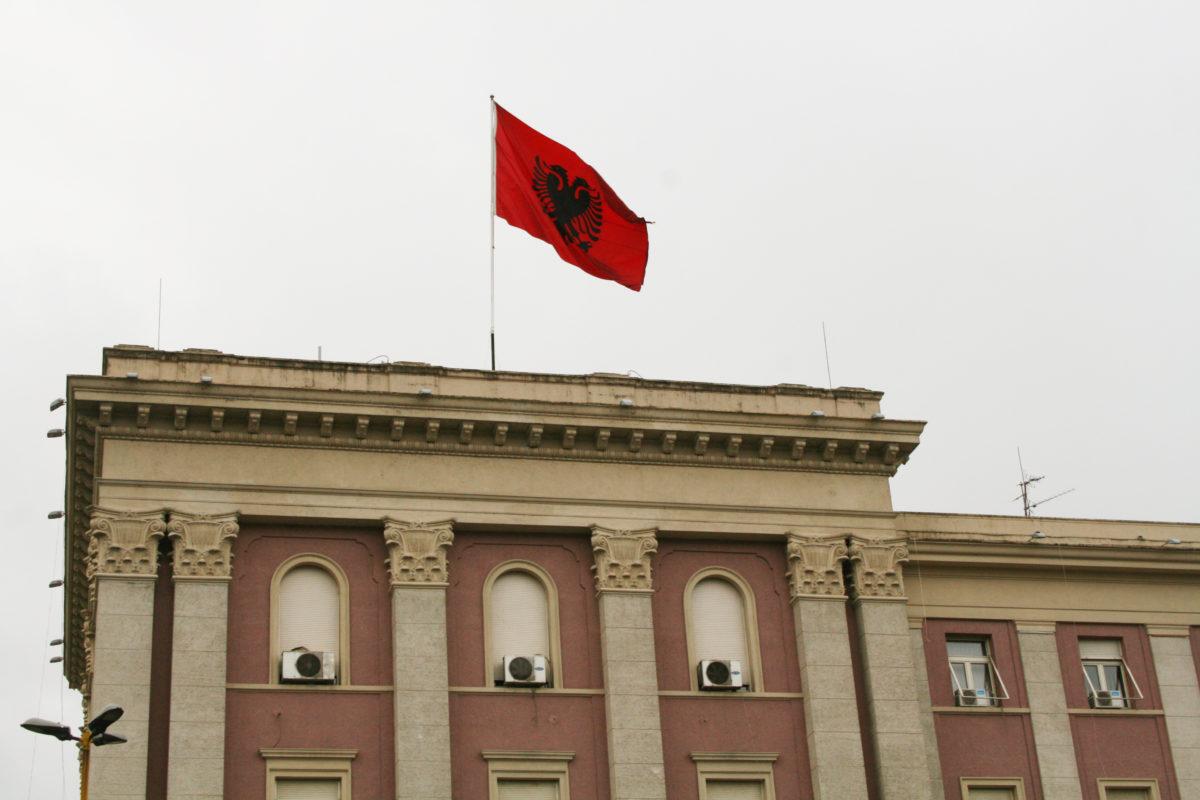 Albania flag of the capital Tirana