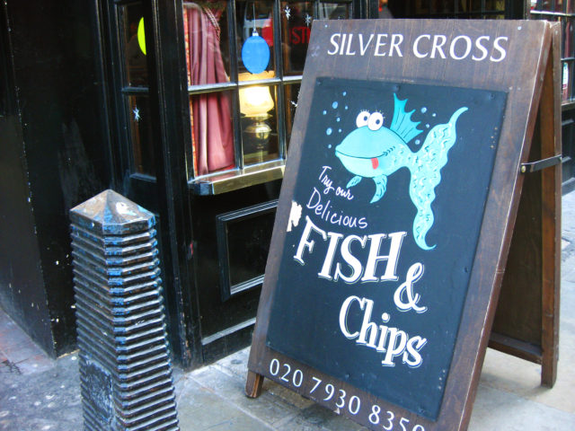 Free stock photos of [Fish and Chips signboard ①]