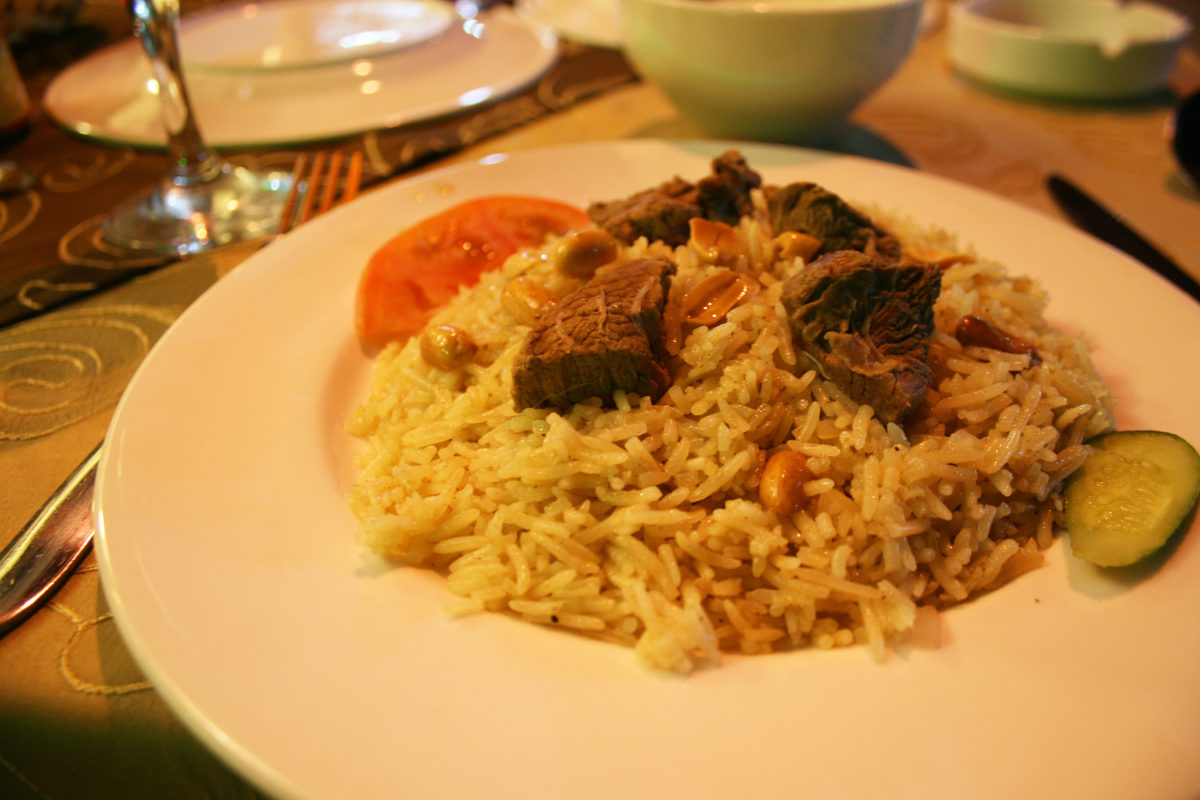 Camel meat dish at a restaurant in front of Palmyra ruins
